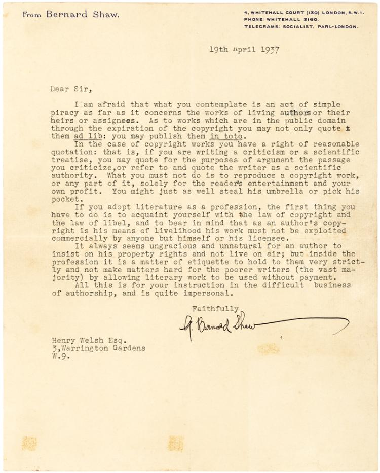 George Bernard Shaw Typed Letter of Advice on Copyright,