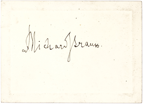 Elegant Richard Strauss Signature on a Small Blind-Embossed Cream Colored Card