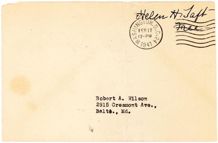 Helen Taft Typed Envelope Bearing Her Boldly Signed Free Frank