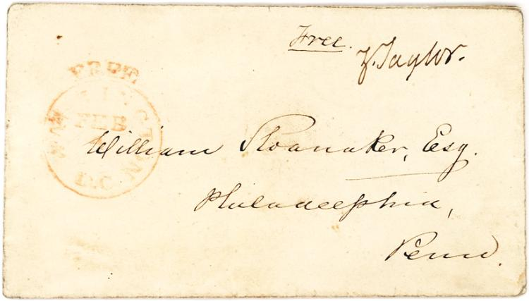 Rare Zachary Taylor Free Frank Signed on an Envelope from February (1850)