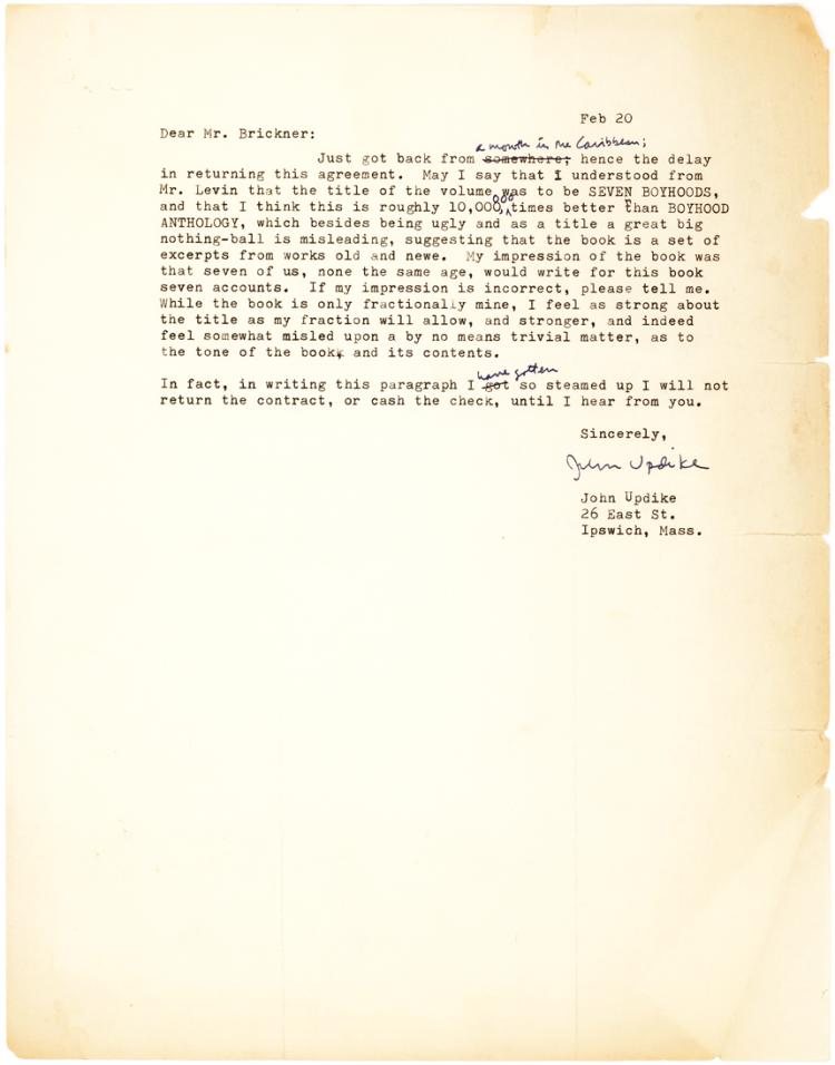 Irate Updike Letter to Publisher: I Will Not Return the Contract or Cash the Check