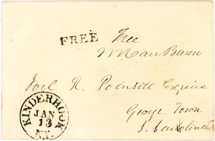 Van Buren Free Frank with Kinderhook Postmark to Sec. of War, Joel R. Poinset