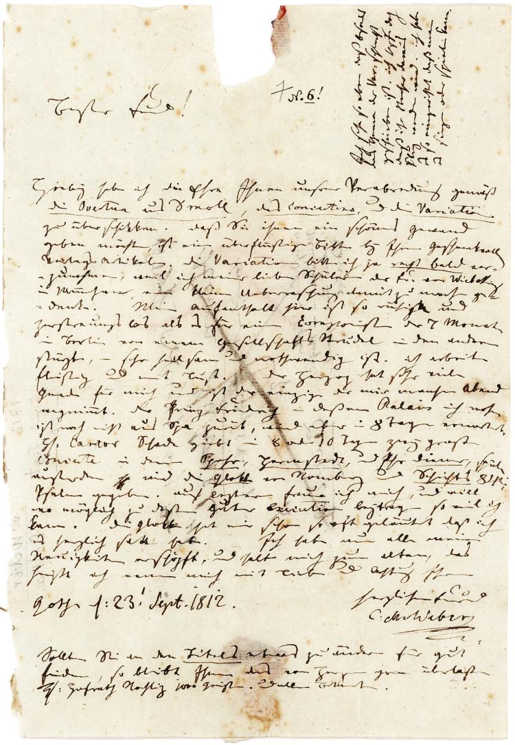 Rare Autograph Letter by Carl Maria von Weber mentioning Patron and Compositions