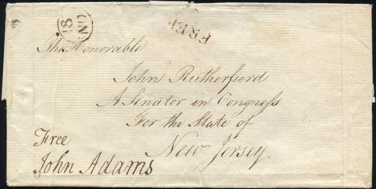 Superb John Adams Free Frank on Cover Addressed to Senator John Rutherford of NJ