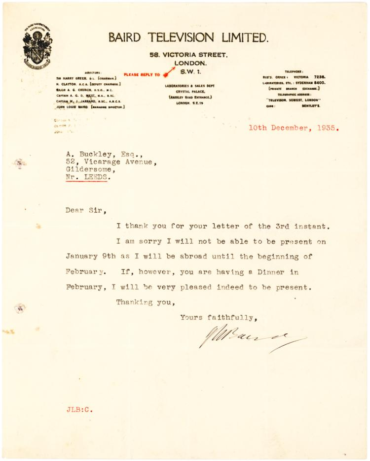 Scarce Letter by John Baird, Scottish TV Inventor, on Baird Television Letterhead