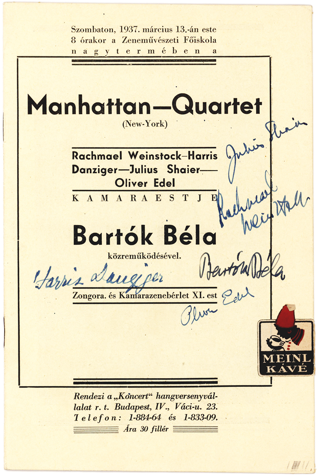 Signed Budapest Concert Program by Bela Bartok and the Manhattan Quartet