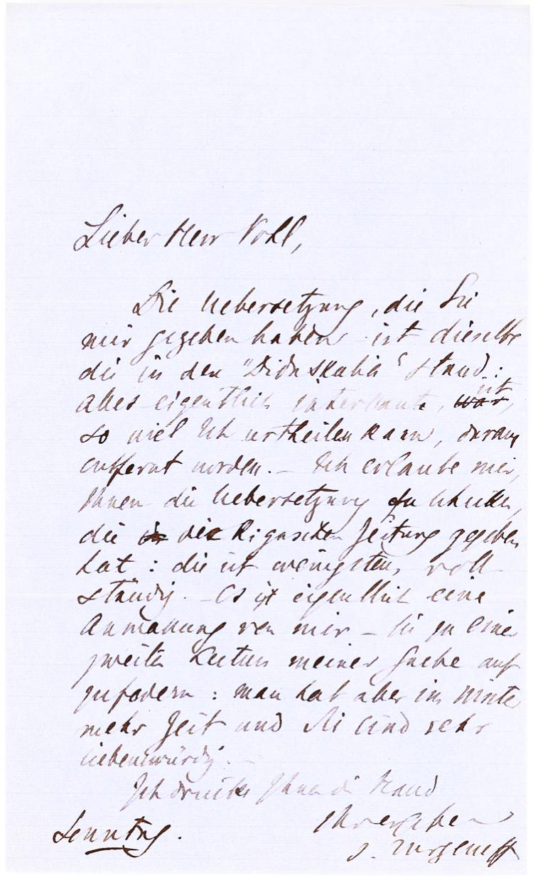Rare Ivan Turgenev Autograph Letter Signed to Pohl about Translating His Work