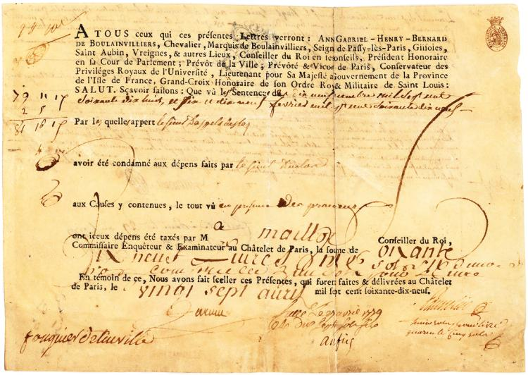Rare Document Signed by the French Revolutionary Judge, Fouquier-Tinville, from the Crawford Collection