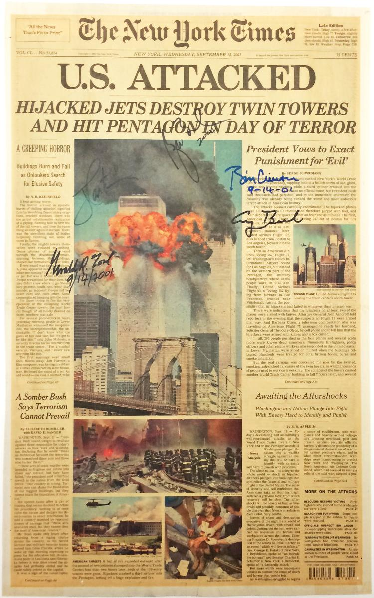 U.S. ATTACKED - NY Times Front Page Picturing 9/11 Attack Signed by 5 Presidents