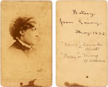 Louisa May Alcott, Inscribes a Photograph Using the Name of a Dickens Character