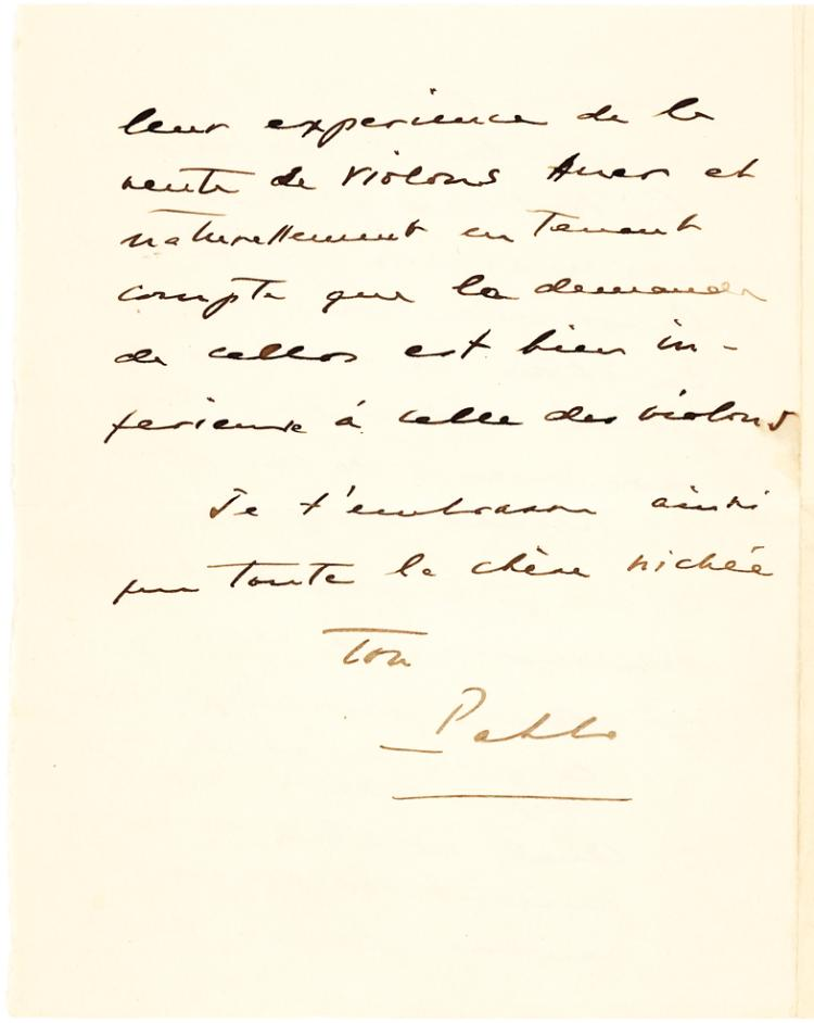 Fine Autograph Letter by Spanish Musician Pablo Casals About Cellos