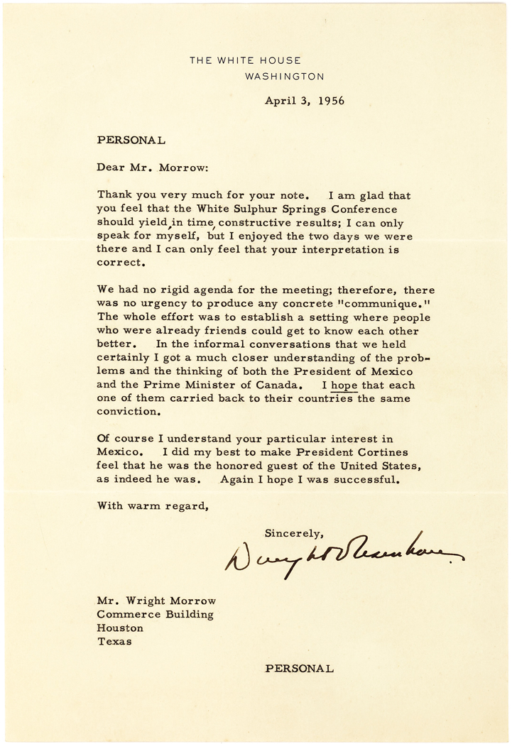 Eisenhower on the White Silver Springs Conference with Mexico's President and Canada's Prime Minister