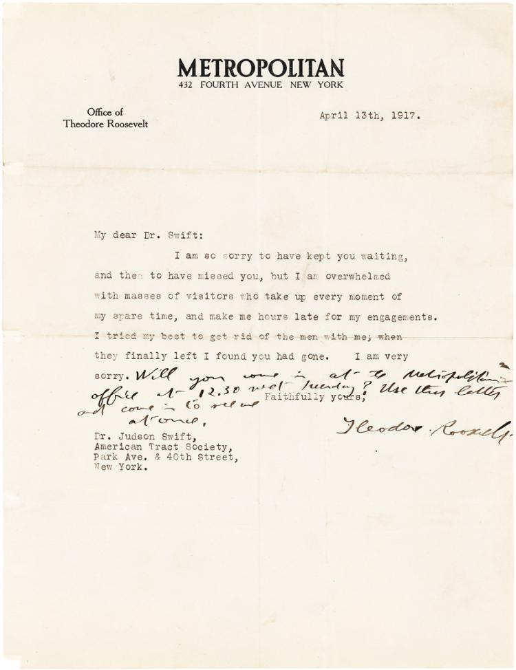 Theodore Roosevelt Typed Letter: I am Overwhelmed with Masses of Visitors