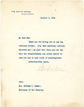 President Wilson Typed Letter to his Secretary of Treasury and son-in-law McAdoo