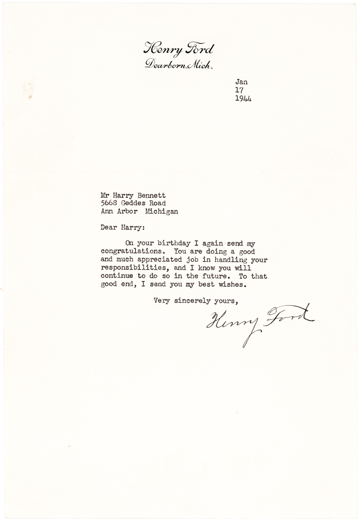 Henry Ford Sends Birthday Greetings to Controversial Head of Ford Internal Security, Harry Bennett