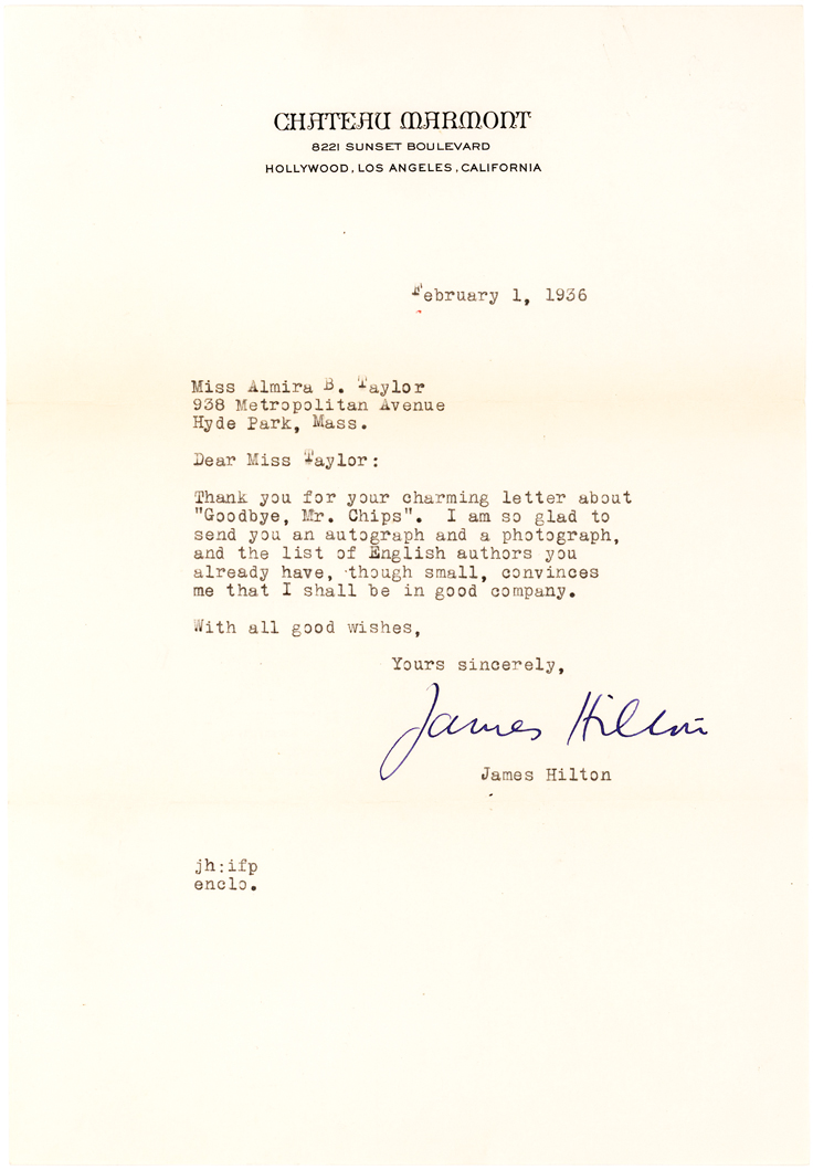 Rare Letter Signed by James Hilton, Mentioning His Most Famous Book, Goodbye, Mr. Chips
