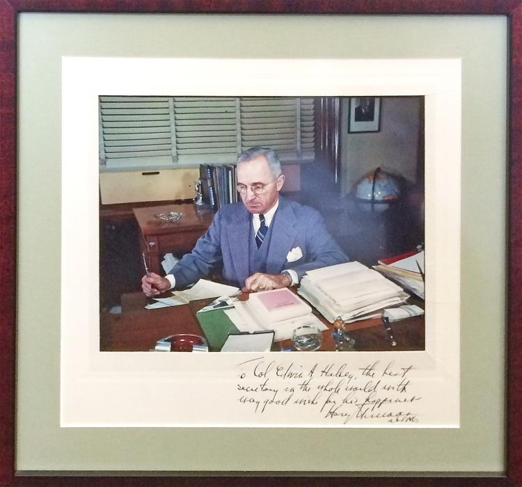 Stunning Truman Color Signed Photo on Matte to US Senate Secretary Edwin Halsey