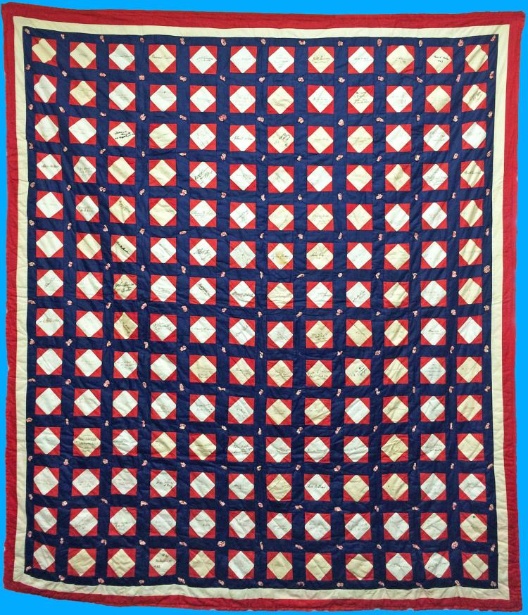 Museum-Quality 19th-c. Autographed New Eng. Quilt Signed by More Than 150 Personalities