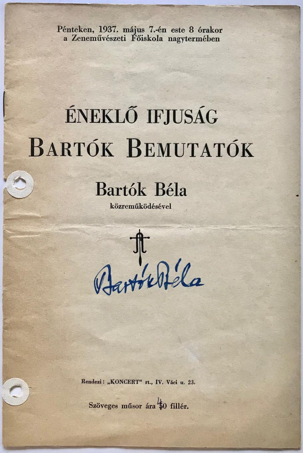 """Bartok Signed Program from the Premiere of Selections from """"Mikrokosmos"""""""