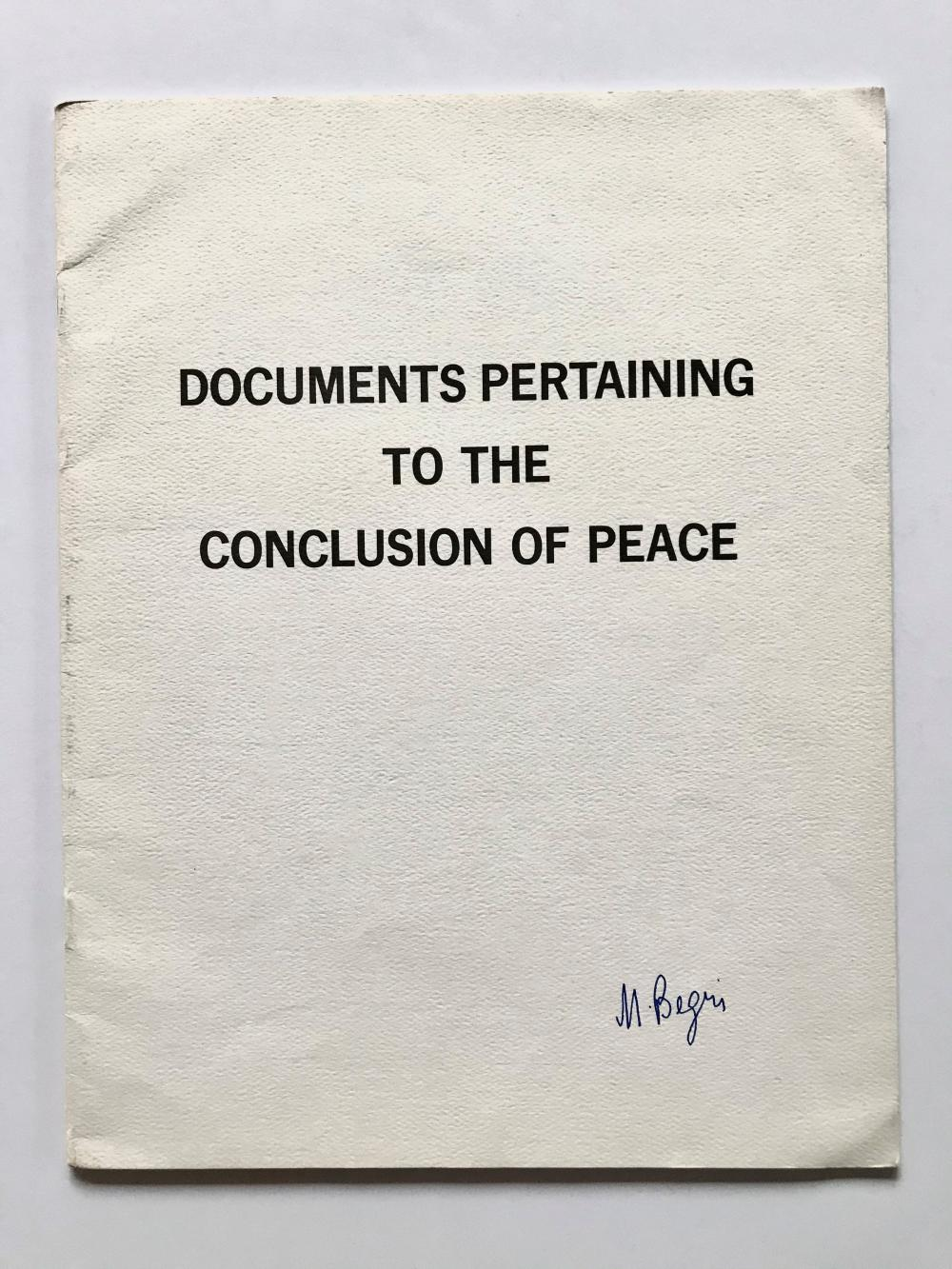 """Begin Signs Camp David """"Documents Pertaining to the Conclusion of Peace"""""""
