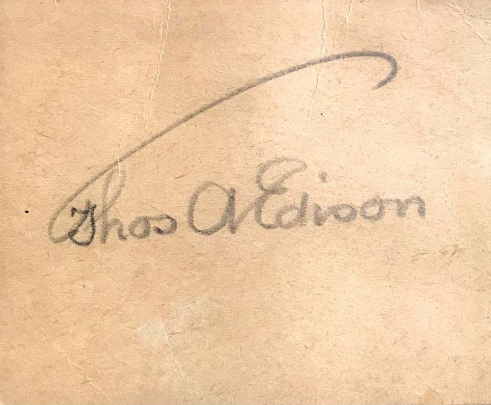 Fine Pencil Signature of America's Greatest Inventor, Thomas Edison