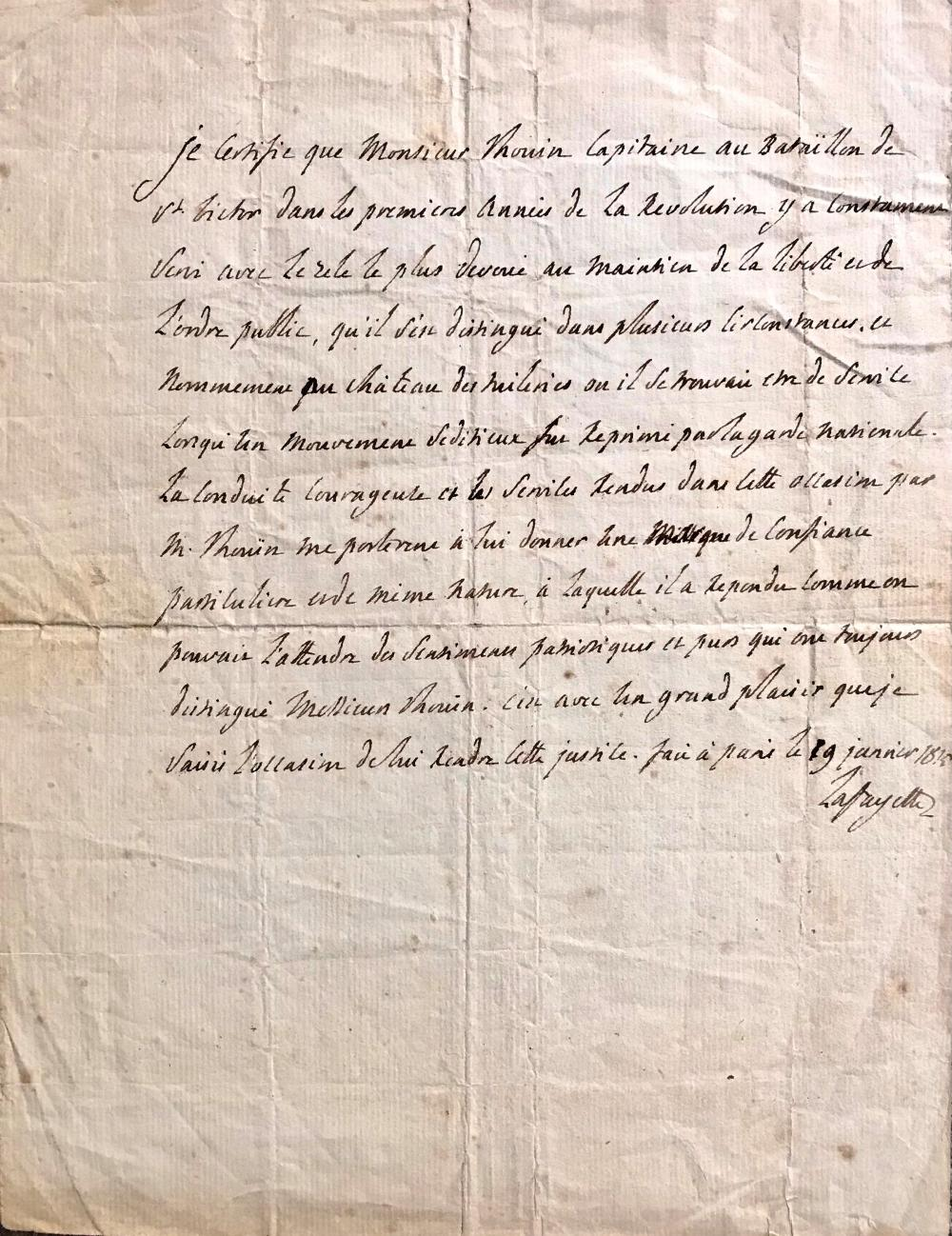 Lafayette Praises Captain Who Protected King Louis XVI During the French Revolution