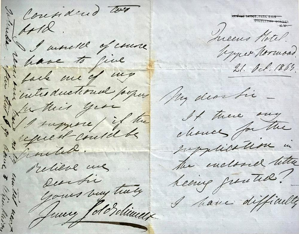 """Fine Autograph Letter by """"the Swedish Nightingale"""" Jenny Lind"""