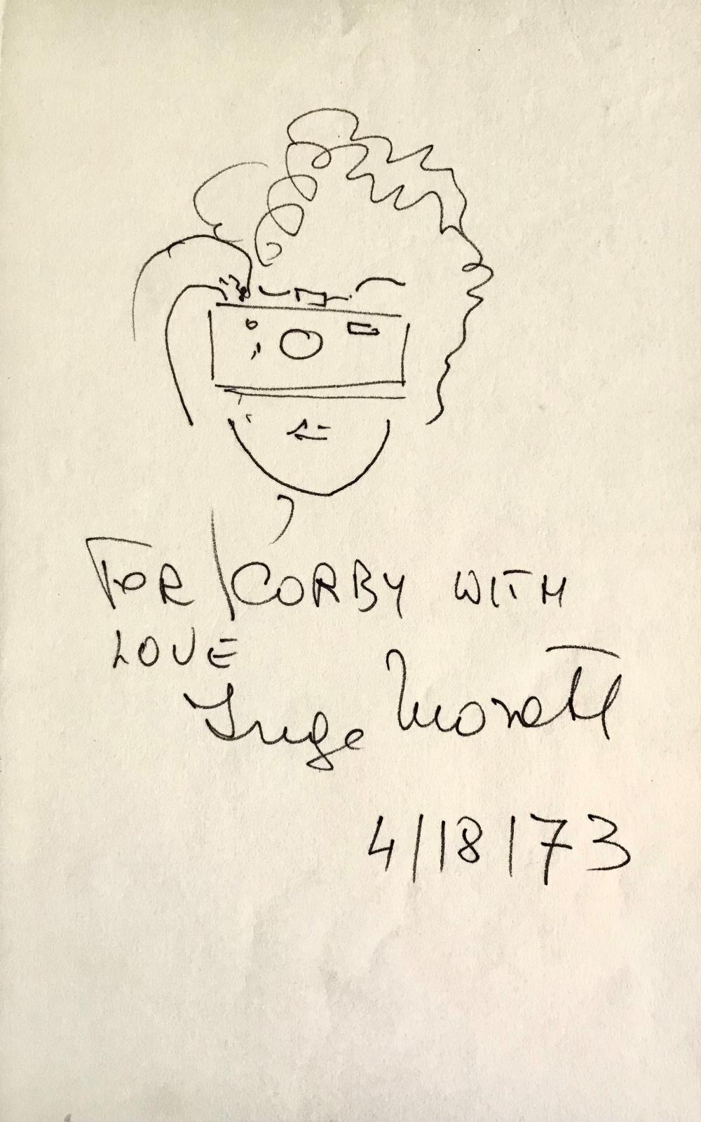 Inscribed Drawing by Photographer Inge Morath