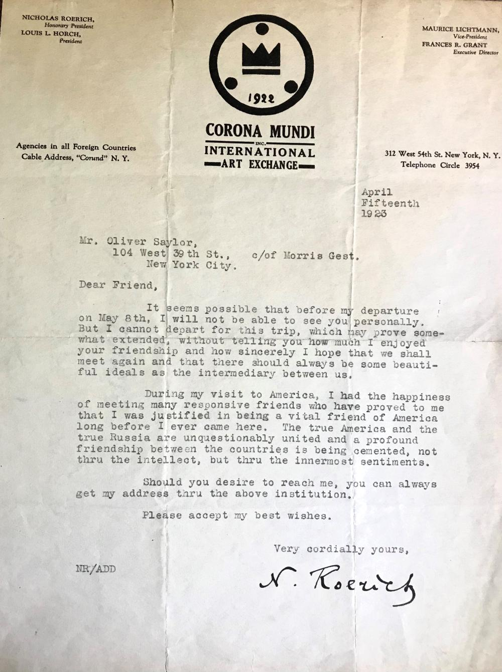 Rare Letter by one of Russia's Leading 20th Century Cultural Figures