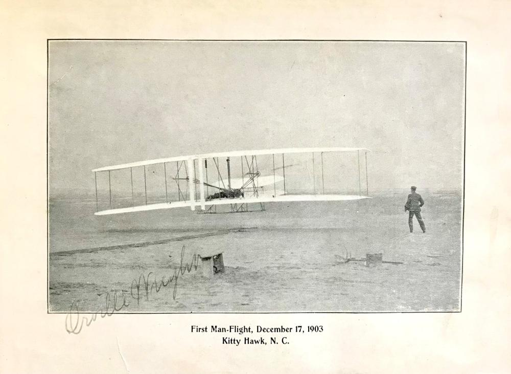 """Historic """"First Flight"""" Image Signed by Orville Wright"""