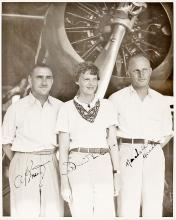 Rare Signed Photograph of Amelia Earhart in Front of Her Lockheed Vega