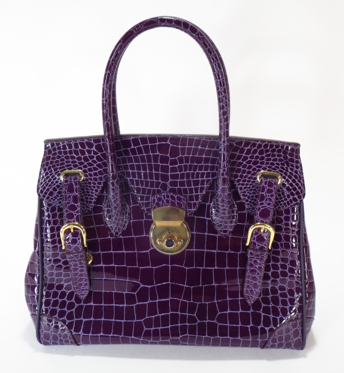 Raphael Purple Crocodile Handbag