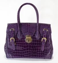 Raphael Purple Crocodile Handbag