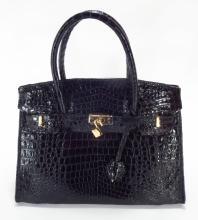 Black Crocodile Birken Style Handbag