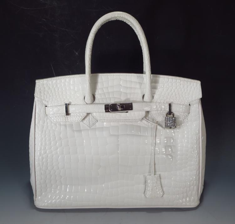 Raphael White Crocodile Handbag