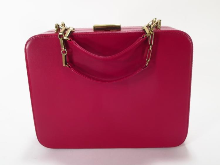 Mark Cross Red Leather Hardcase Handbag