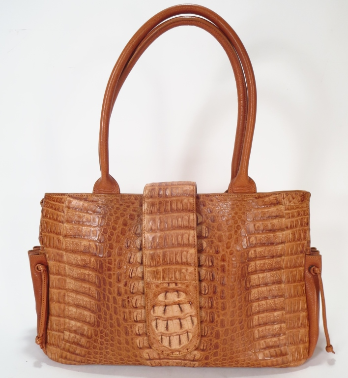 Carlos Falchi Embossed Crocodile Handbag