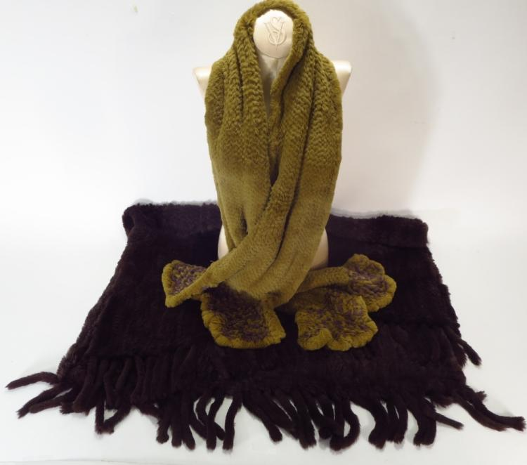 Brown Rabbit Stole & Scarf