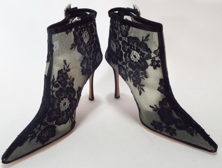 Manolo Blahnik Black Lace Booties