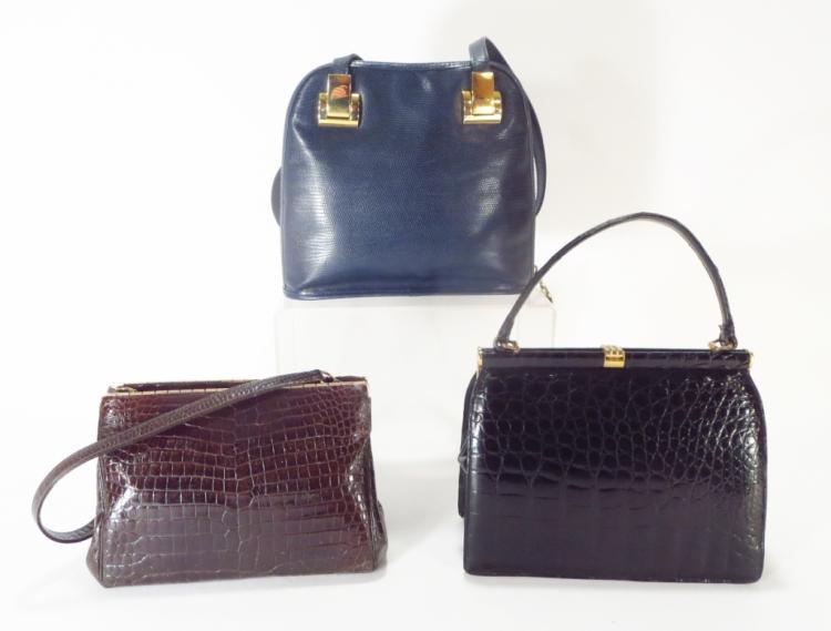 Three Vintage Skin Handbags