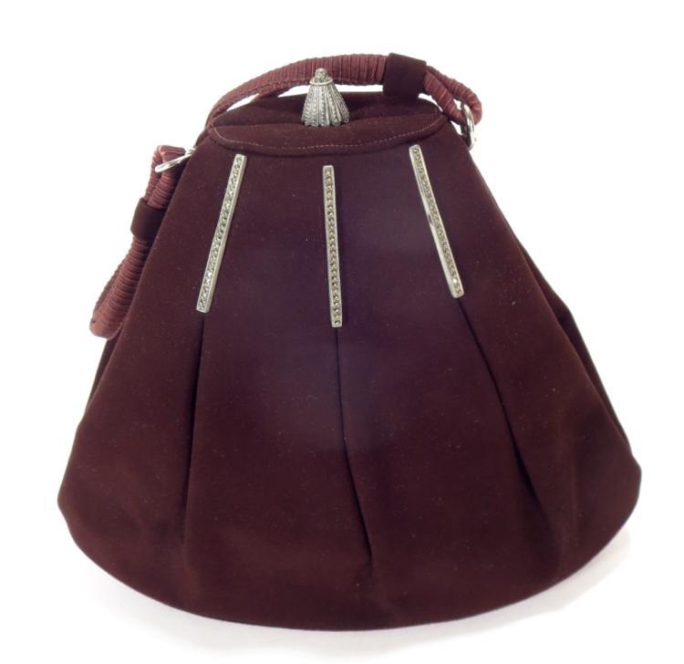 Prestige Vintage Brown Suede Evening Bag