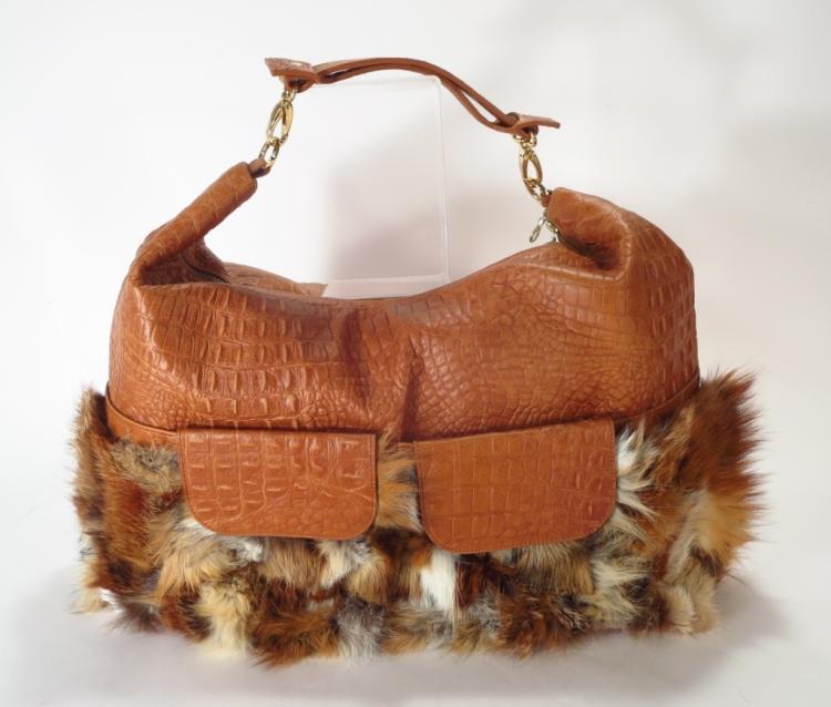Terrida Brown Fur Trimmed Overnight Bag