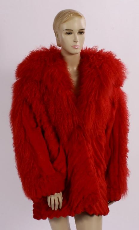 Red Sheared Rabbit Fur Coat