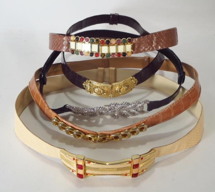 Judith Leiber Mixed Skin Belts