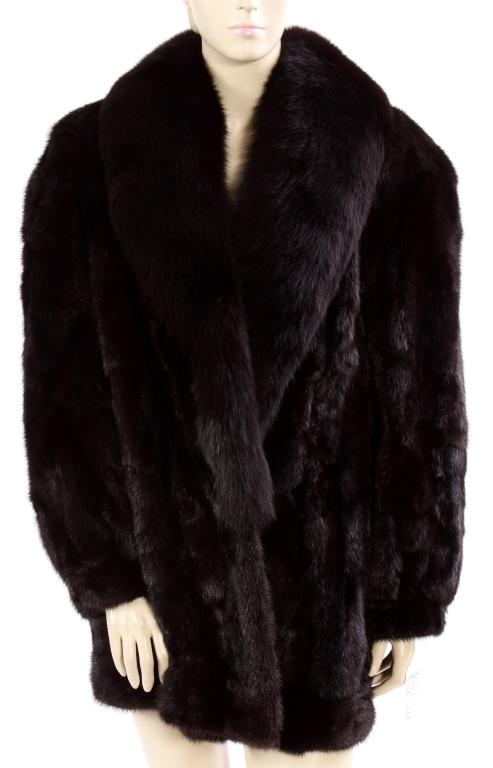 Brown Mink Stroller - Fox Shawl Collar