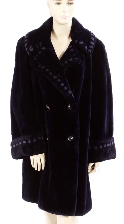 Dark Blue Sheared Fur Coat