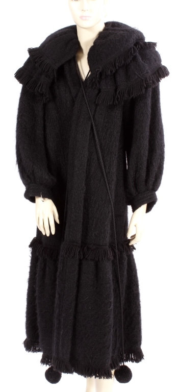 YSL Vintage High Style Black Mohair Coat