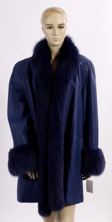 Blue Leather Coat w/ Blue Fox Fur Trim