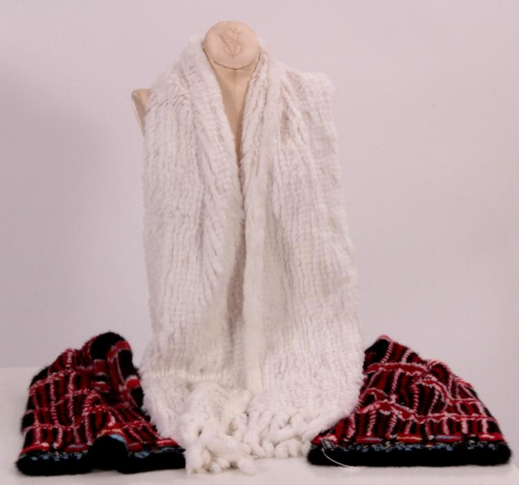 Multi-Colored Mink Stole & White Rabbit Stole