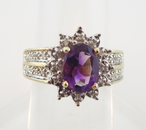 14k, Amethyst, & Diamond Ring